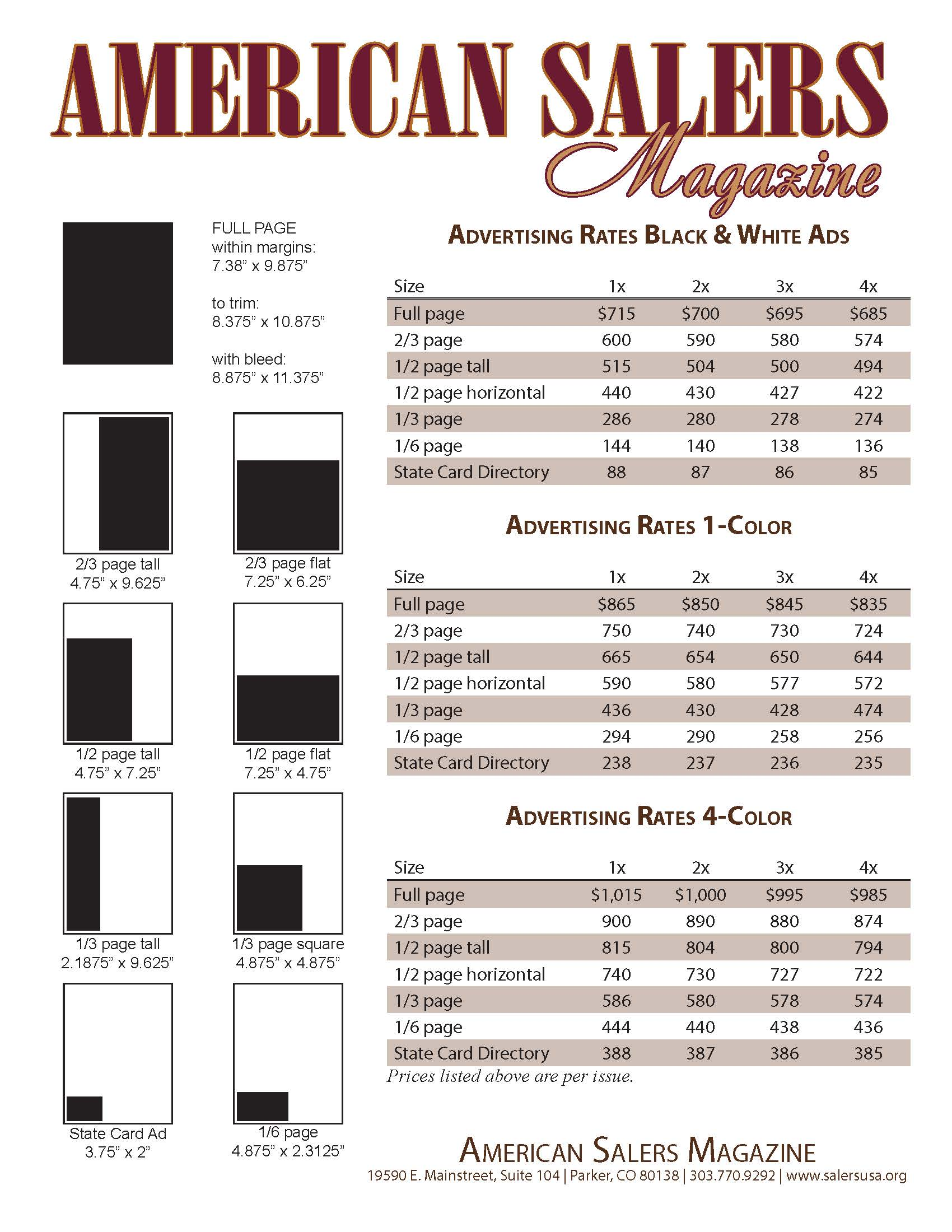 American Salers magazine rate card